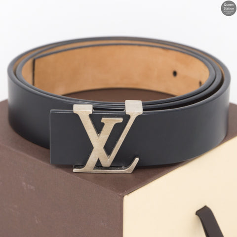 LV Initiales Black Leather Belt 85 / 30