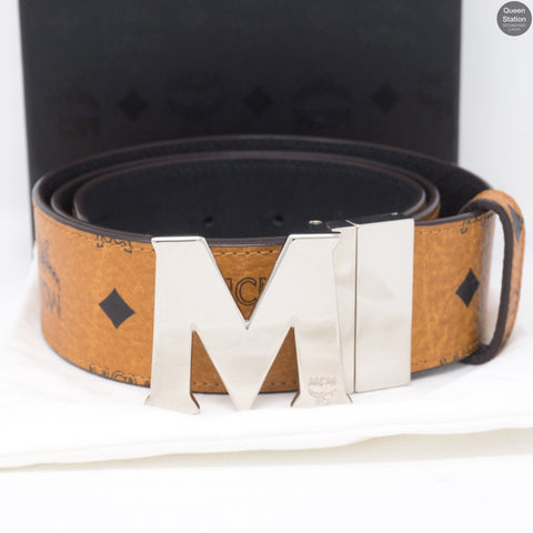 M-Buckle Reversible Leather Belt