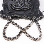 CC Leather And Tweed Chain Tote Bag