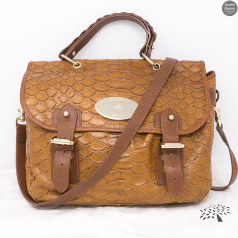 Satchel Brown Croc Embossed Leather