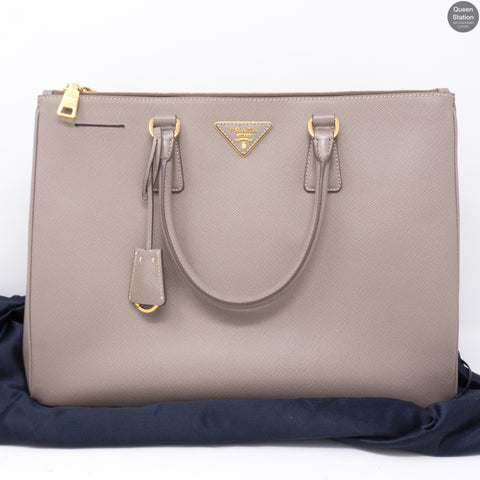 Saffiano Leather Large Double Zip Argilla