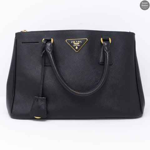 Double Zip Black Saffiano Leather