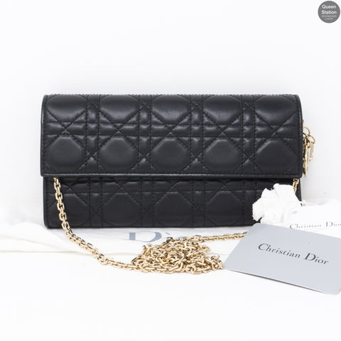 Lady Dior Wallet On Chain Black Leather