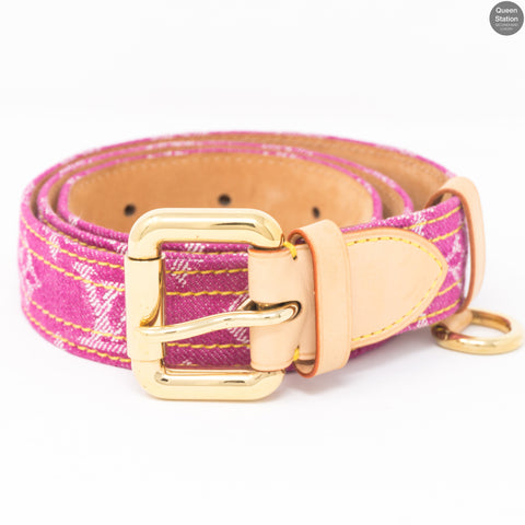 Monogram Belt Pink Denim 80 cm