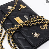 Black Leather Lucky Charms Wallet On Chain