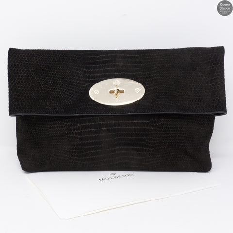 Clemmie Oversized Black Suede Clutch