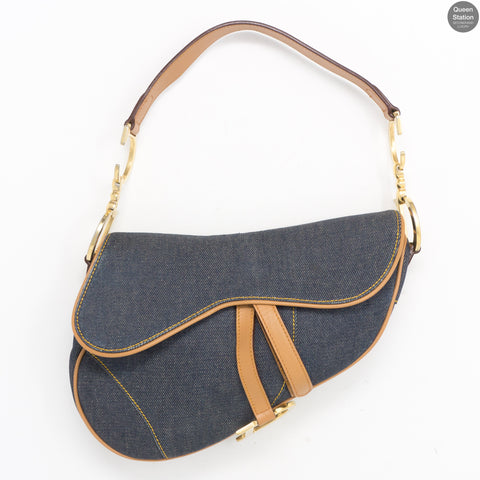 Saddle Bag Blue Denim & Leather