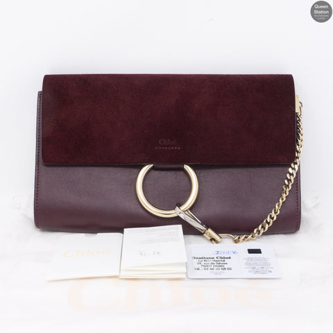 Faye Clutch Burgundy Suede Leather