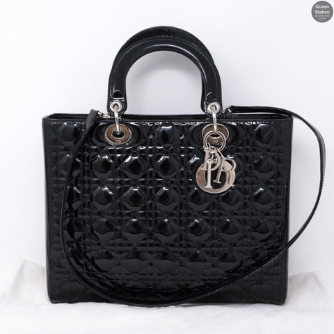 Lady Dior Large Black Patent Leather