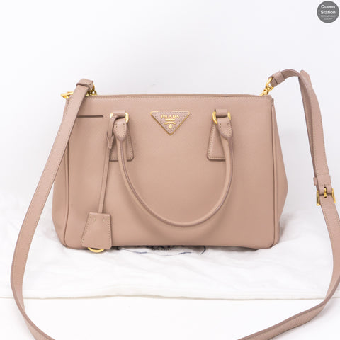 Saffiano Leather Double Zip Dusty Pink