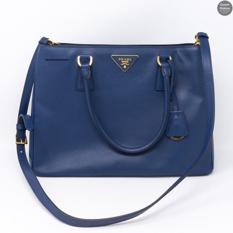 Saffiano Leather Single Zip Blue