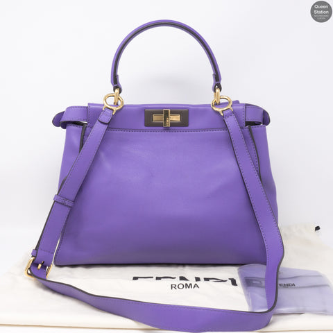 Peekaboo Medium Purple Leather