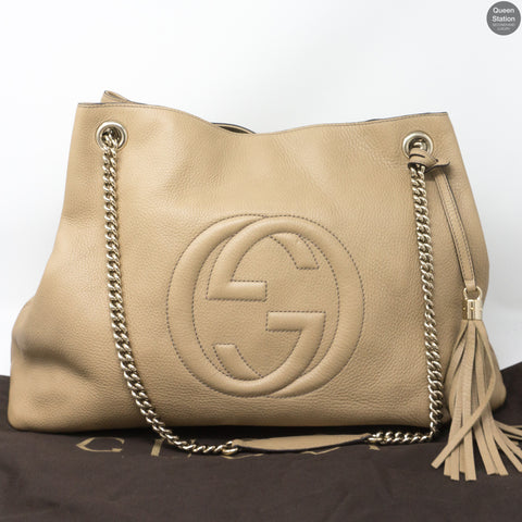 Soho Tassel Chain Large Beige Leather Bag