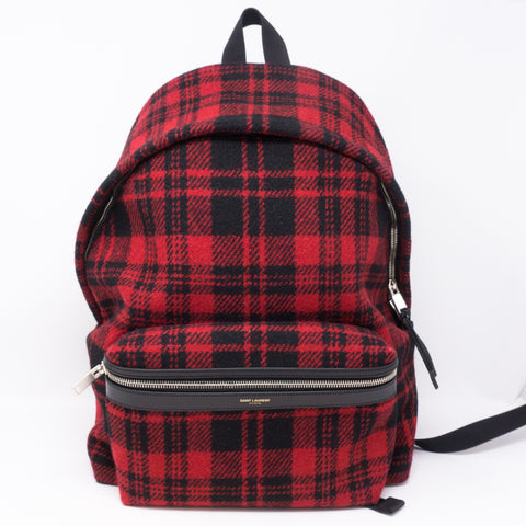 Red and Black Plaid Wool Backpack