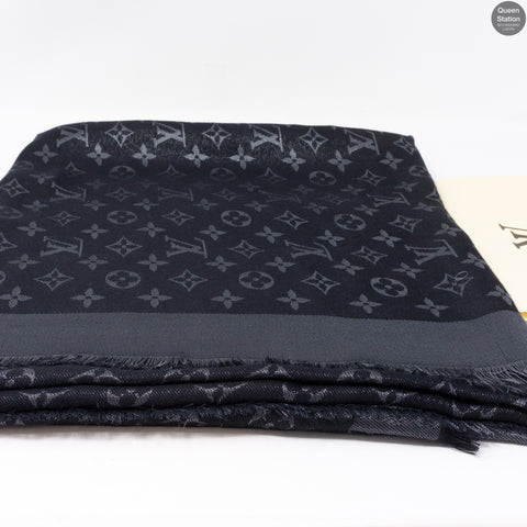 Black Monogram Shine Shawl