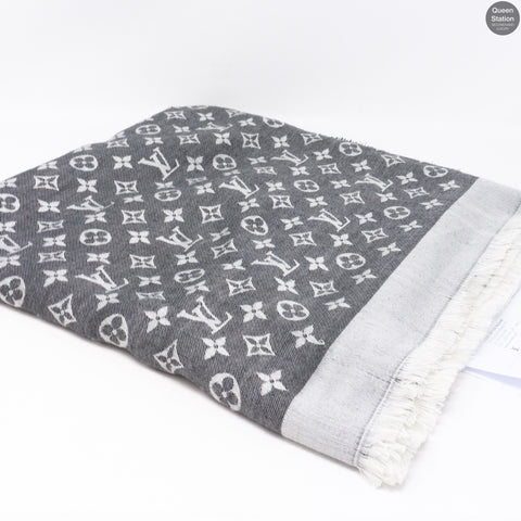 Black Monogram Denim Shawl
