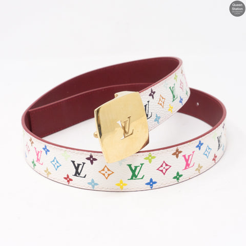 LV Cut White Multicolore Reversible Belt 80 cm
