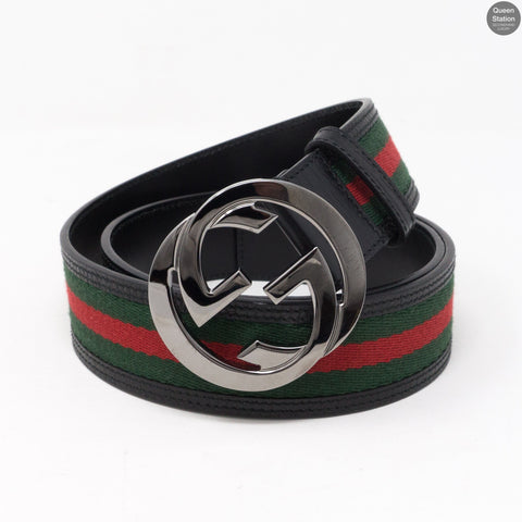 Interlocking G Buckle Black Leather Belt 90 cm