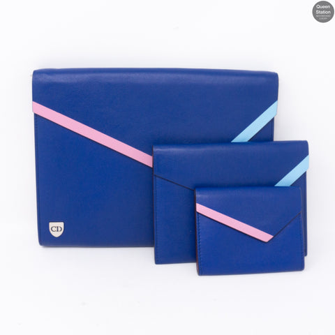 Explore Flat Pouch 3 Piece Blue Leather