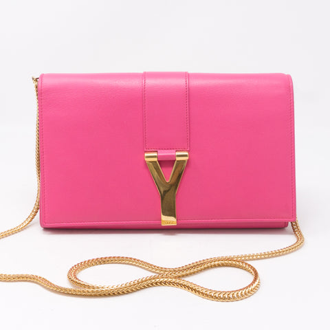 Classic Y Ligne Wallet on Chain Pink
