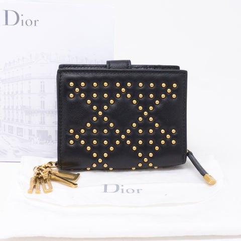 Lady Dior Black Lambskin Wallet Studded