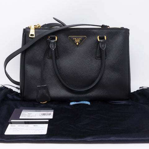 Saffiano Leather Double Zip Black