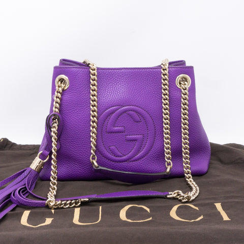 Soho Tassel Chain Small Purple Leather Bag