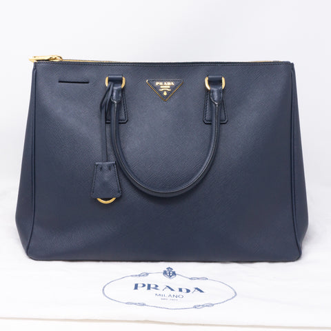 Saffiano Leather Double Zip Navy Blue