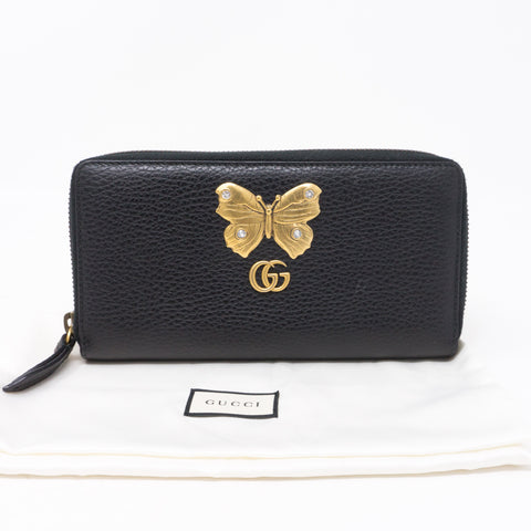 Butterfly Black Zip Around Wallet