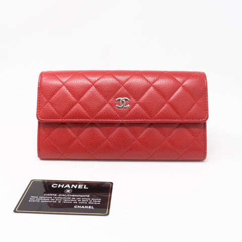 CC Long Flap Wallet Red Caviar