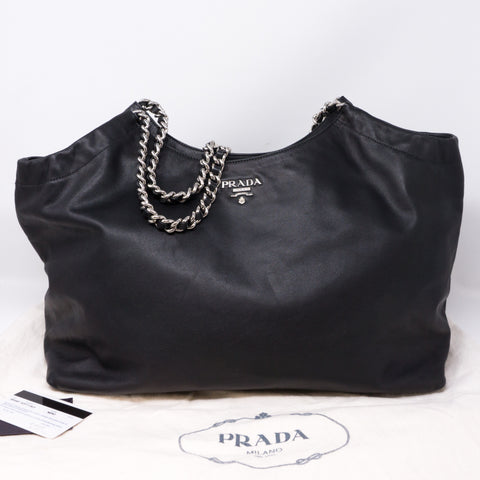 Soft Calfskin Black Leather Chain Tote Bag