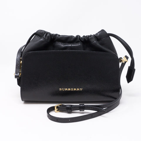 Drawstring Crossbody Black Leather Bag