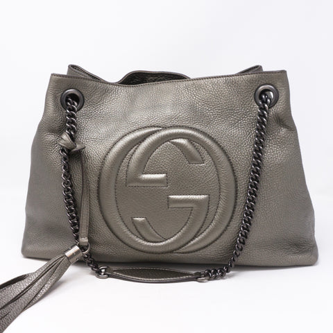 Soho Tassel Chain Pewter Leather Bag