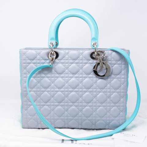 Lady Dior Large Gray Turquoise Leather