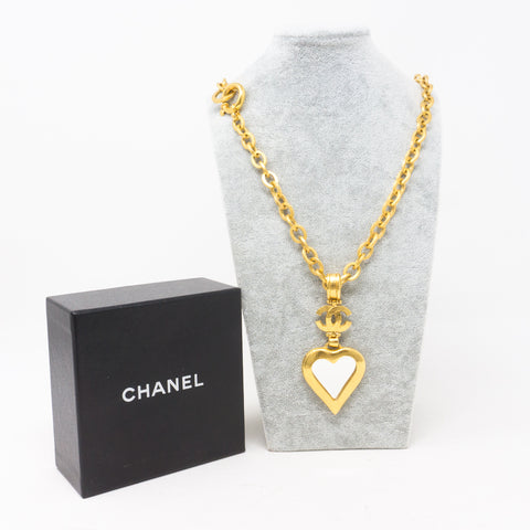 Gold Heart Mirror CC Pendant Necklace