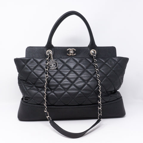 Bi-Coco Shopper Tote Black Quilted Leather