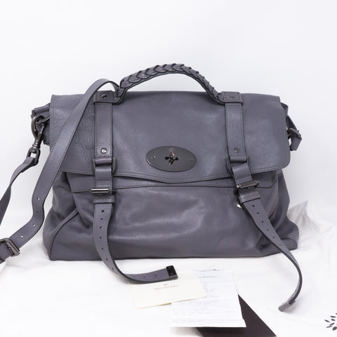 Alexa Oversized Slate Gray Leather