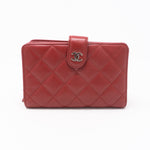 CC Bifold Quilted Red Leather Wallet