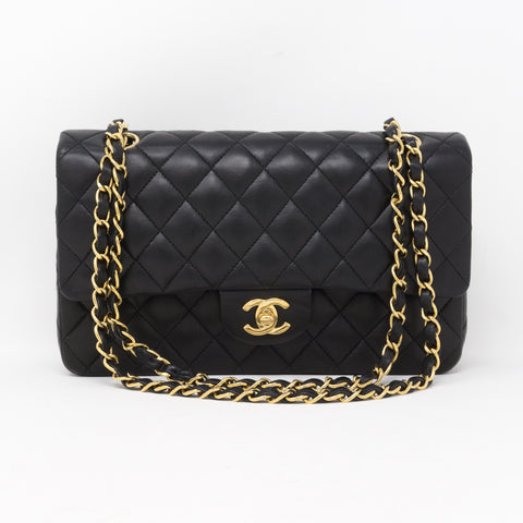 Classic Double Flap Medium Black Gold