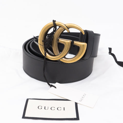 Double G Buckle Black Leather Belt 95 cm