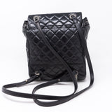 Mountain Backpack Quilted Black Glazed Leather