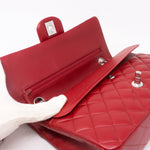 Classic Double Flap Medium Red Silver