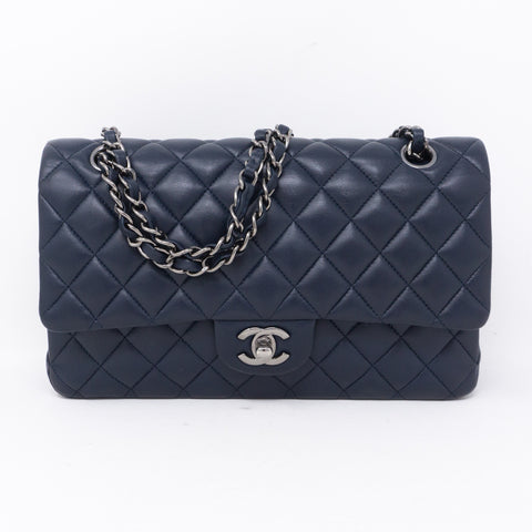 Classic Double Flap Medium Navy Blue Silver