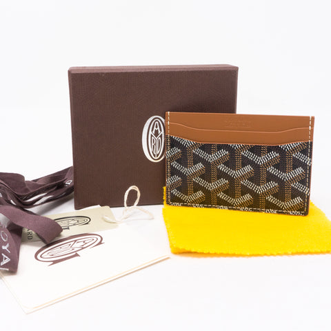 Saint Sulpice Card Holder Goyardine Black Tan