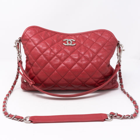Soft Chain Tote Red Caviar Leather