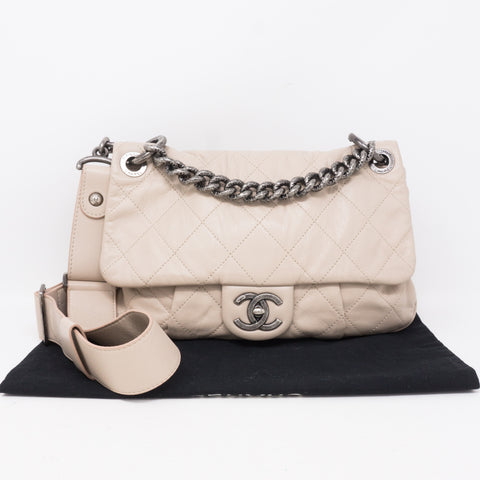 Coco Pleats Small Beige Crossbody Bag