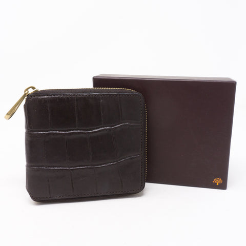 Medium Zip Around Wallet Croc Embossed Leather