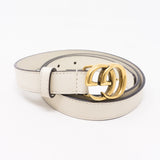 Double G Buckle White Leather Slim Belt 85 cm