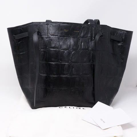 Cabas Phantom Tote Black Croc Embossed Leather