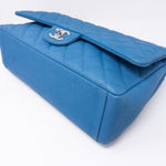 Classic Double Flap Maxi Blue Matte Caviar Leather